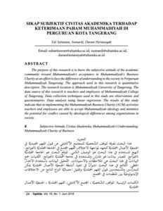 Sikap Subjektif Civitas Akademika Terhadap Keterimaan Paham Muhammadiyah Di Perguruan Kota Tangerang Repository Uhamka